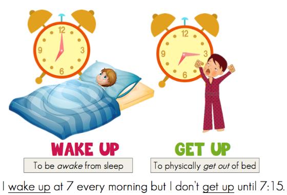 Phân biệt Wake up và Get up